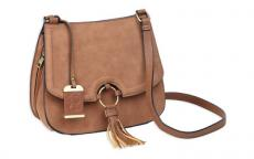 Bulldog Cross Body Purse Camel Suede