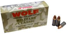 Wolf Military Classic 115gr FMJ 50round